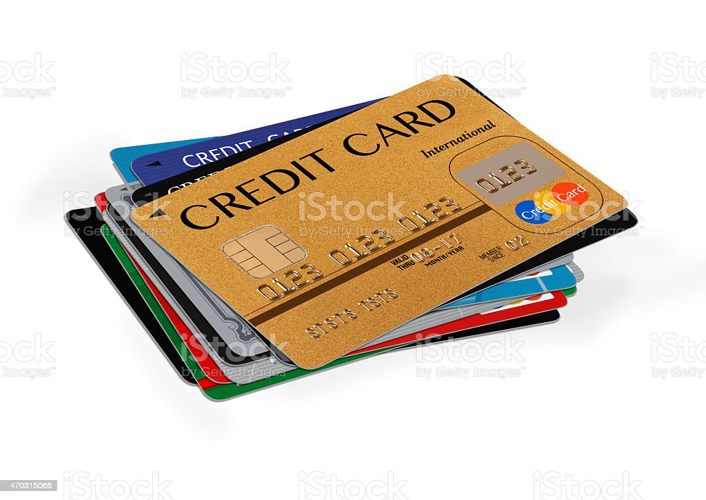 credit cards stack on white stock photo