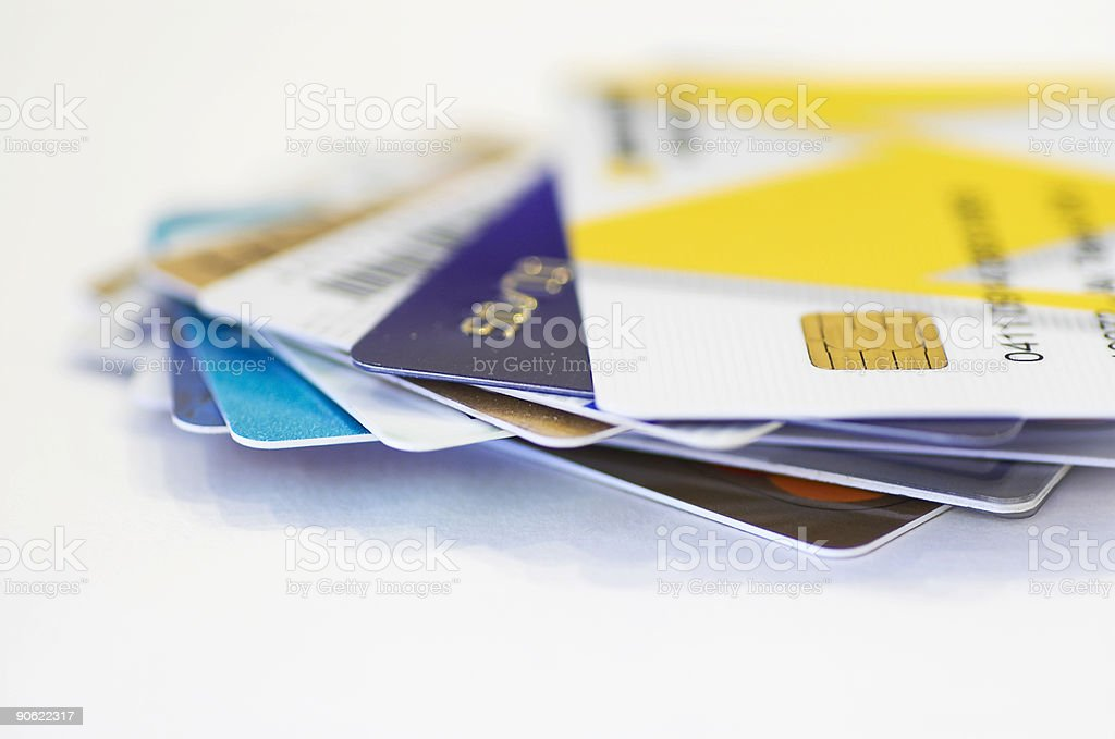 credit cards together stock photo