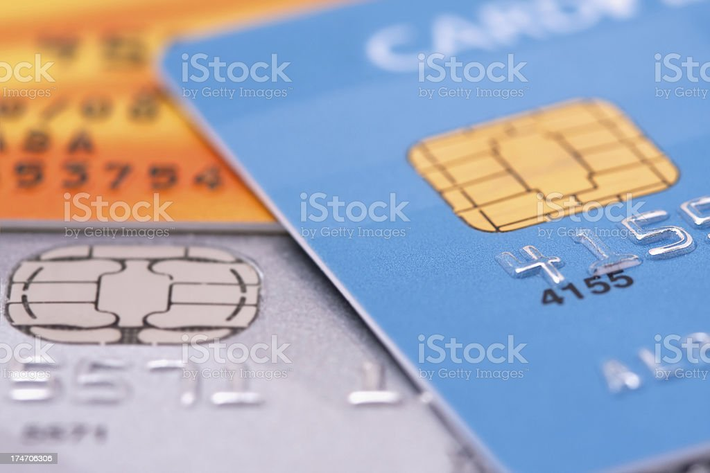 Credit cards with EMV chip - Macro shot stock photo