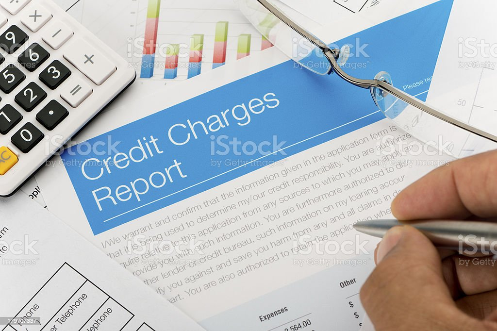 Credit charges report close up royalty-free stock photo