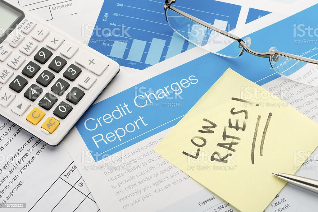 Credit charges report form with low rates stock photo