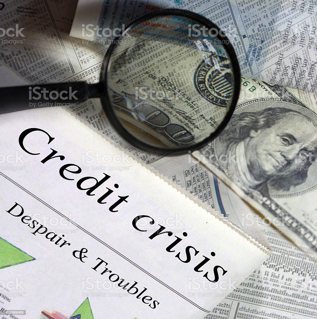 Credit crisis headlines. stock photo