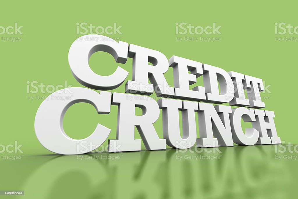 Credit Crunch 3D rendered text royalty-free stock photo