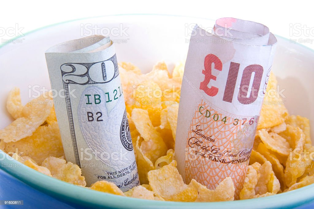 Credit crunch bowl pound dollar stock photo