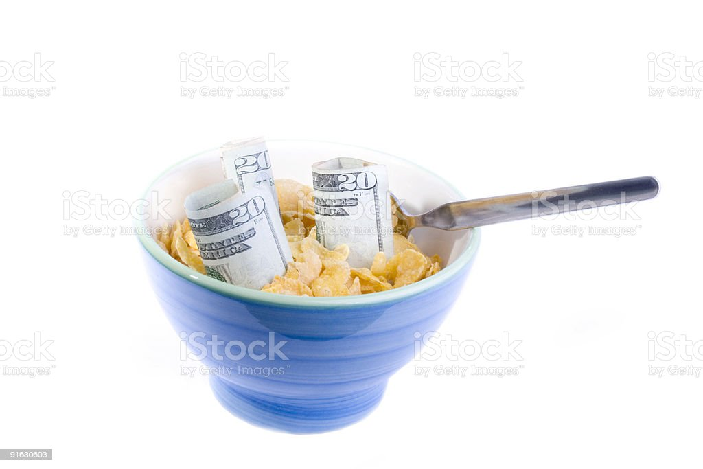 Credit crunch bowl spoon stock photo