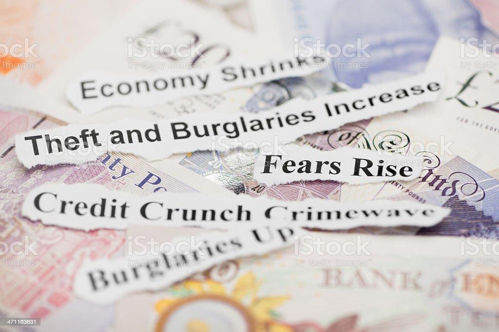 Credit Crunch Crimewave Headline Topics royalty-free stock photo