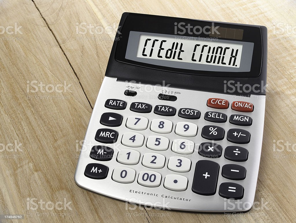 credit crunching calculator on wood royalty-free stock photo