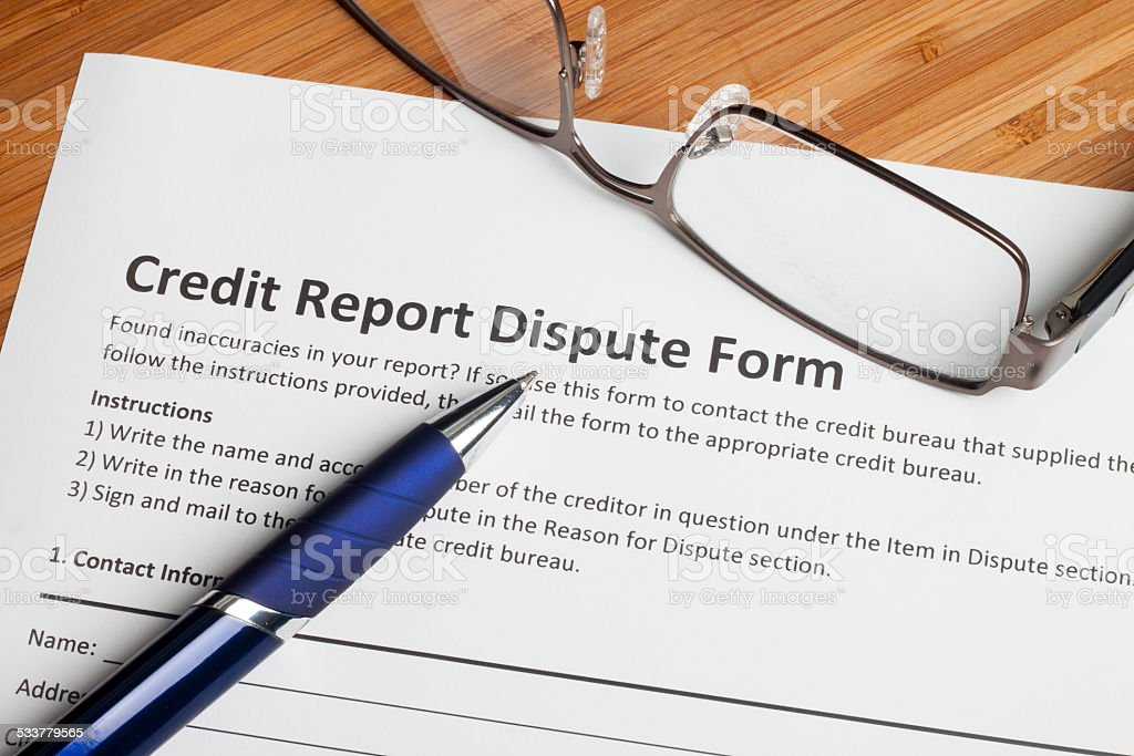 Credit report dispute score stock photo