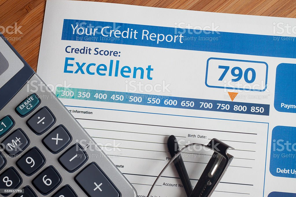 Credit report with score stock photo