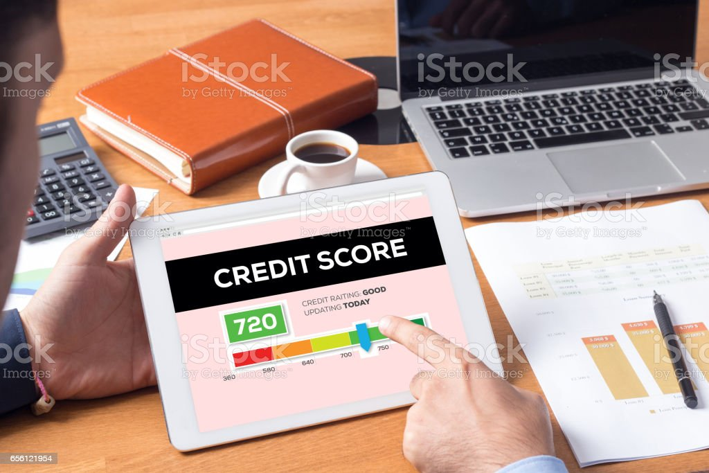 Credit Score Concept on Tablet PC Screen stock photo
