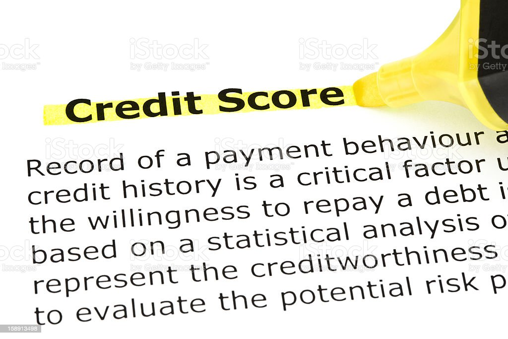 Credit Score highlighted in yellow royalty-free stock photo