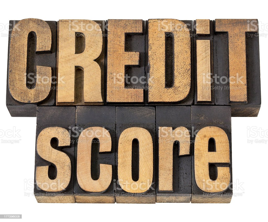 credit score in wood type royalty-free stock photo