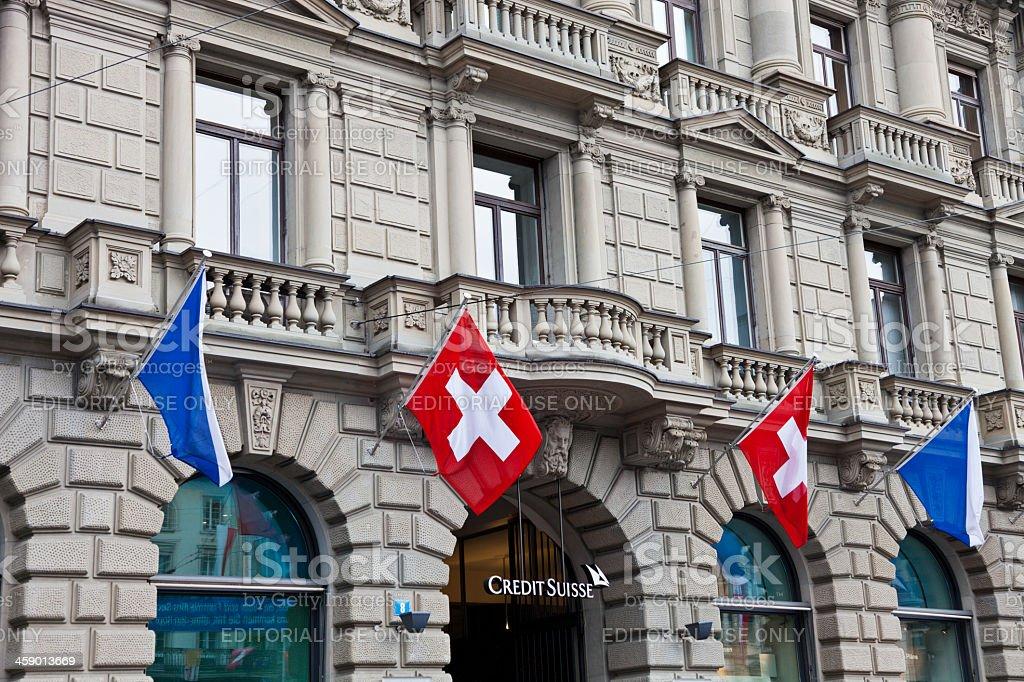 Credit Suisse at Paradeplatz on Sechseläuten Monday stock photo