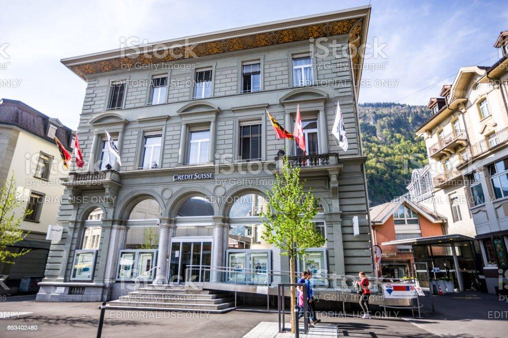 Credit Suisse building in Interlaken, Switzerland stock photo