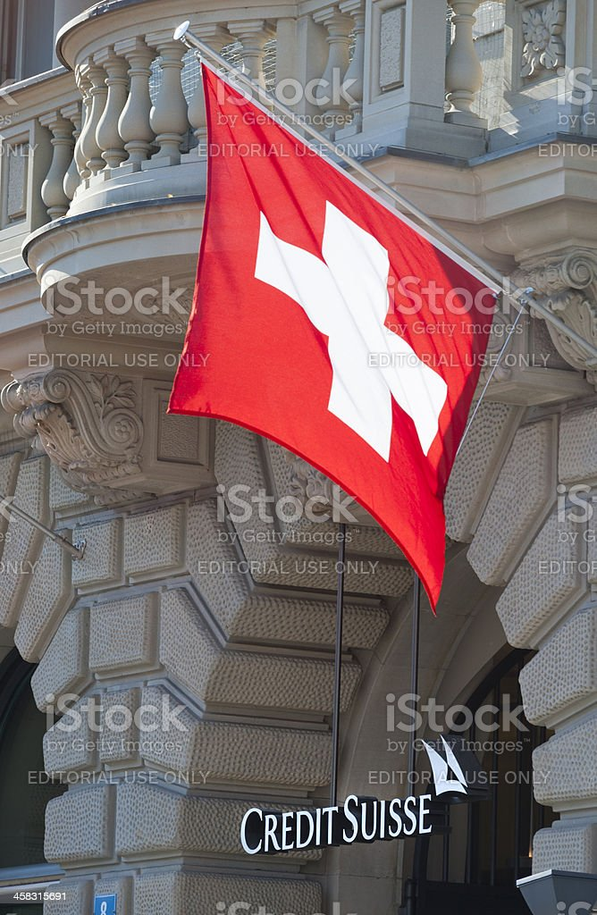 Credit Suisse Headquarters with Swiss flags stock photo
