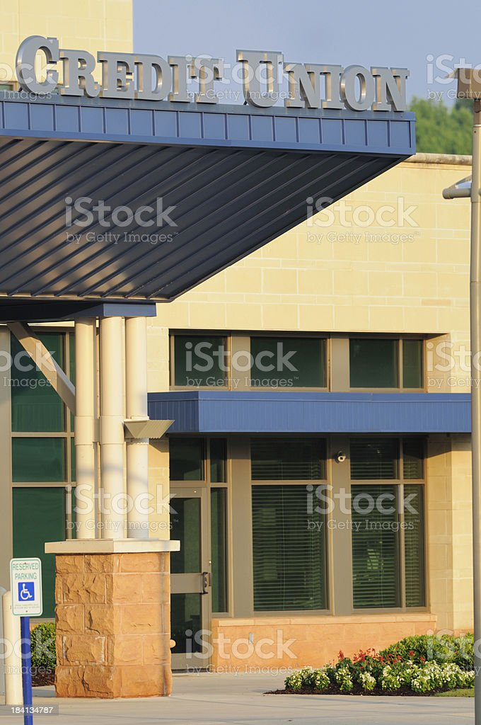 Credit union with sign royalty-free stock photo