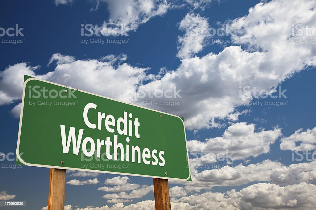 Credit Worthiness Green Road Sign royalty-free stock photo