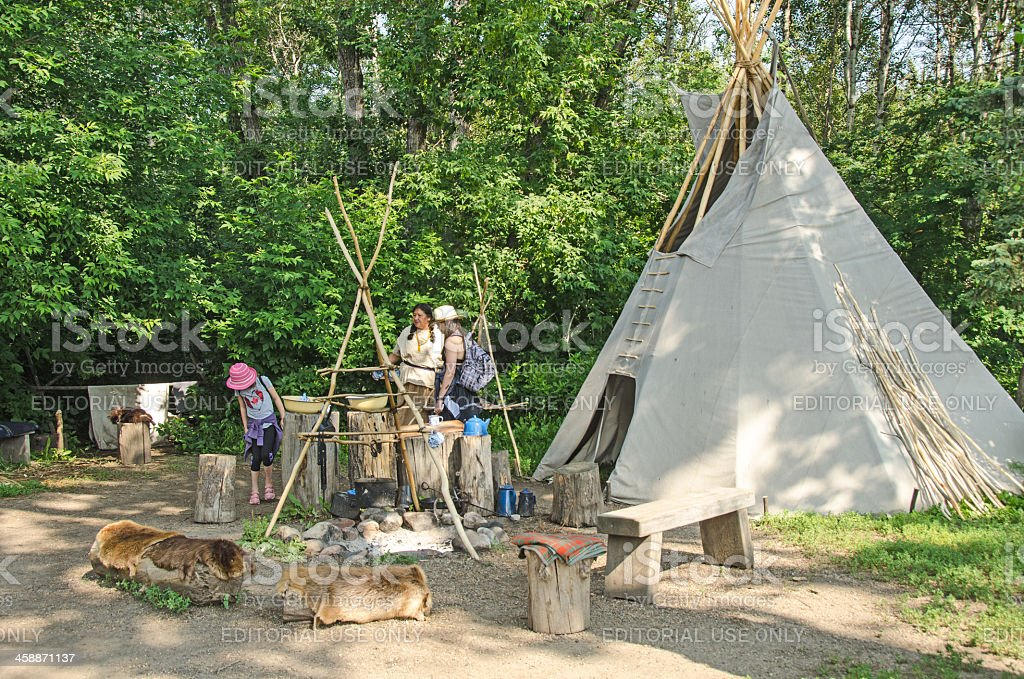 Cree Camp in Fort Edmonton royalty-free stock photo