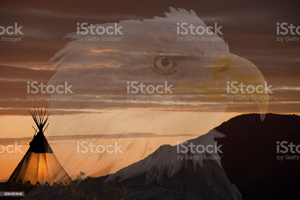 Cree teepee, clouds and transparent eagle head fills image stock photo