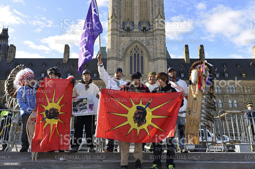 Cree Youth walkers arrive in Ottawa stock photo