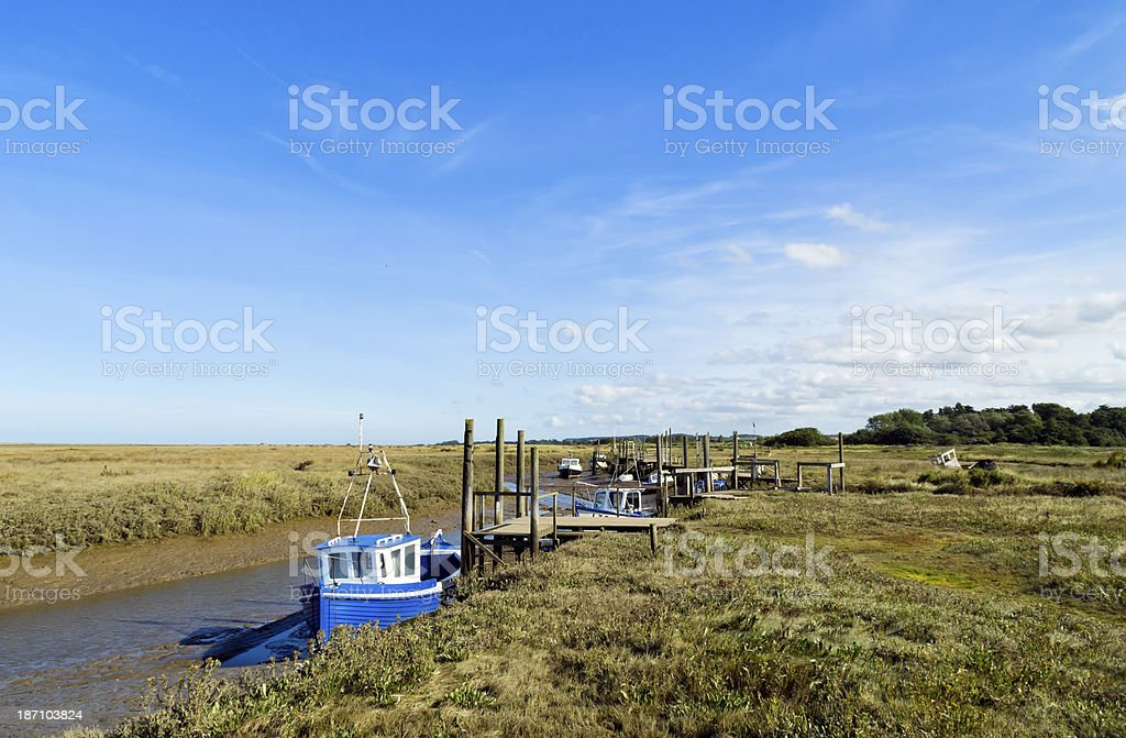 Creek and marshes at Thornham royalty-free stock photo
