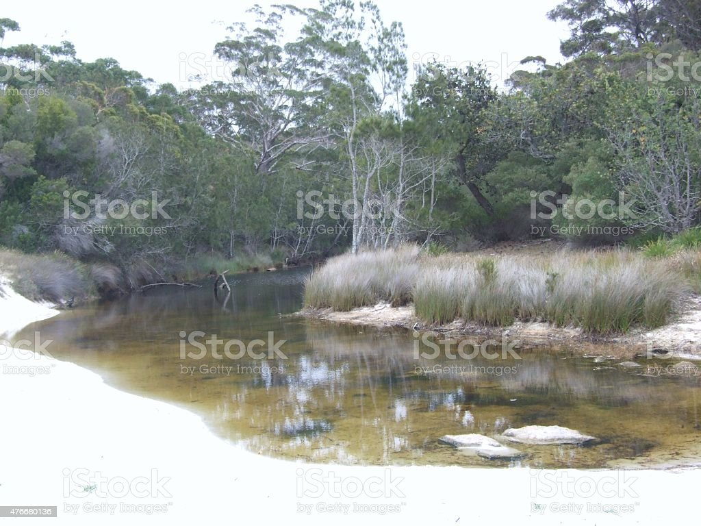 Creek and white sands of Jervis Bay stock photo