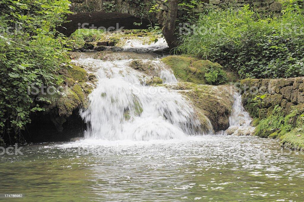 creek  cascade with streaming water rocks and green Croatia Krka royalty-free stock photo
