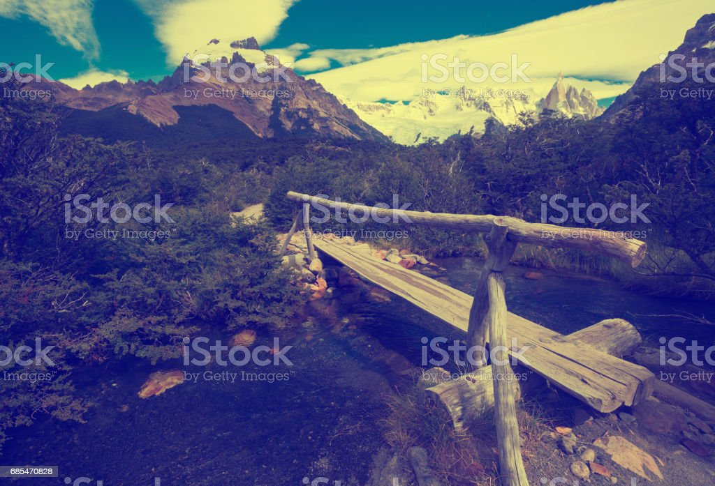 Creek from melting glaciers in Andes mountains stock photo