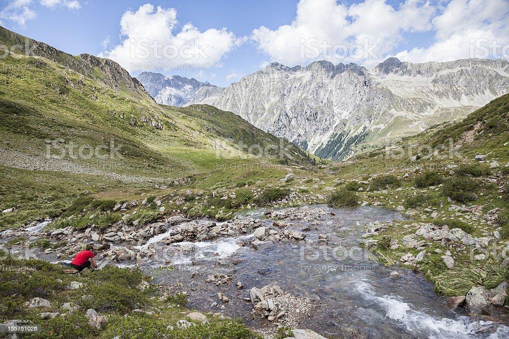 Creek in high mountain valley, Austrian/Italian Alps. royalty-free stock photo