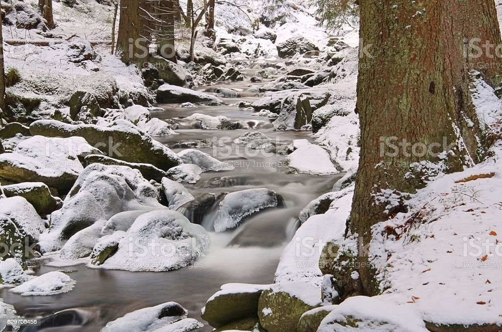creek in the Mountains in winter stock photo