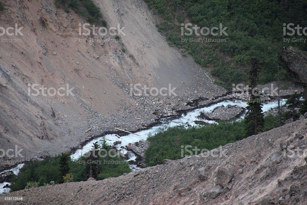 Creek Rockslide stock photo