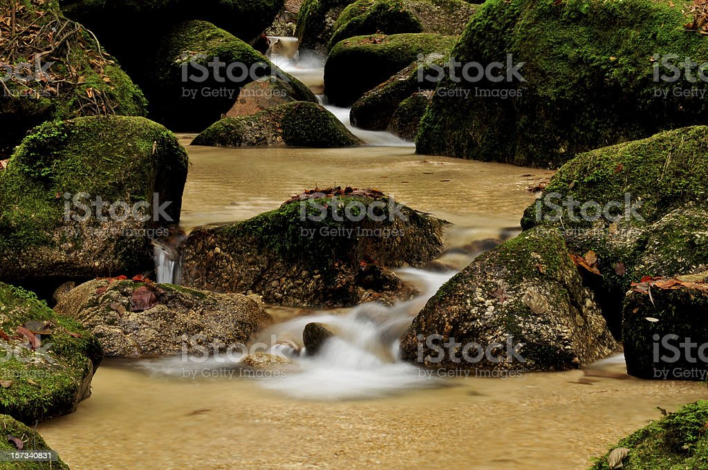 creek running through moss-covered stones royalty-free stock photo