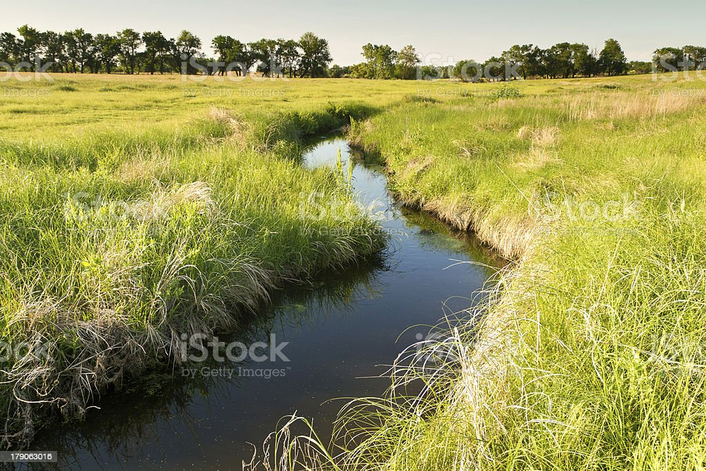 creek winding through Kansas pasture stock photo