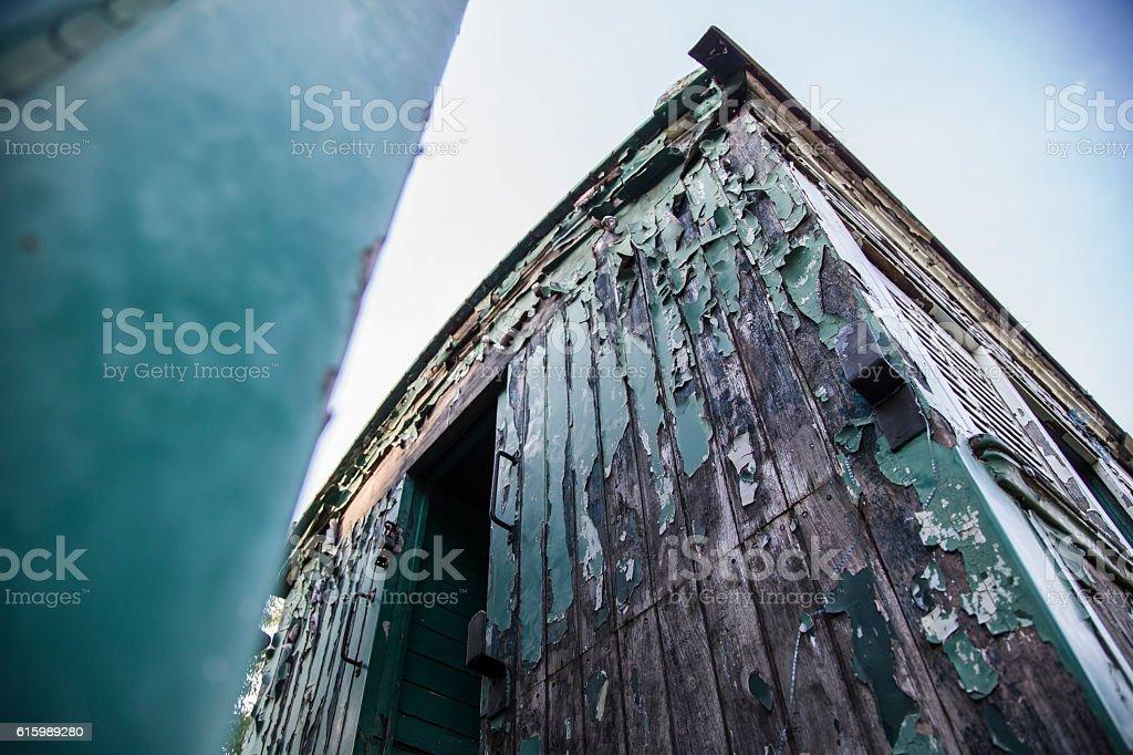 creepy abandoned railway carriage stock photo
