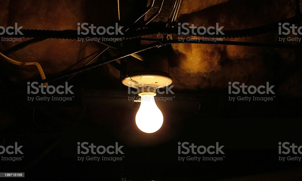 Creepy basement light bulb royalty-free stock photo