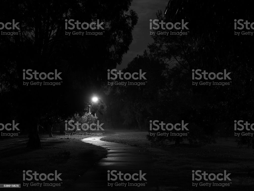 Creepy Bike Path at Night stock photo
