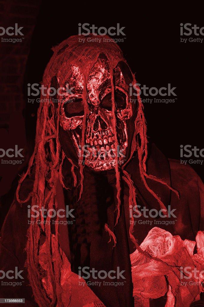 Creepy bloody skull man at night royalty-free stock photo