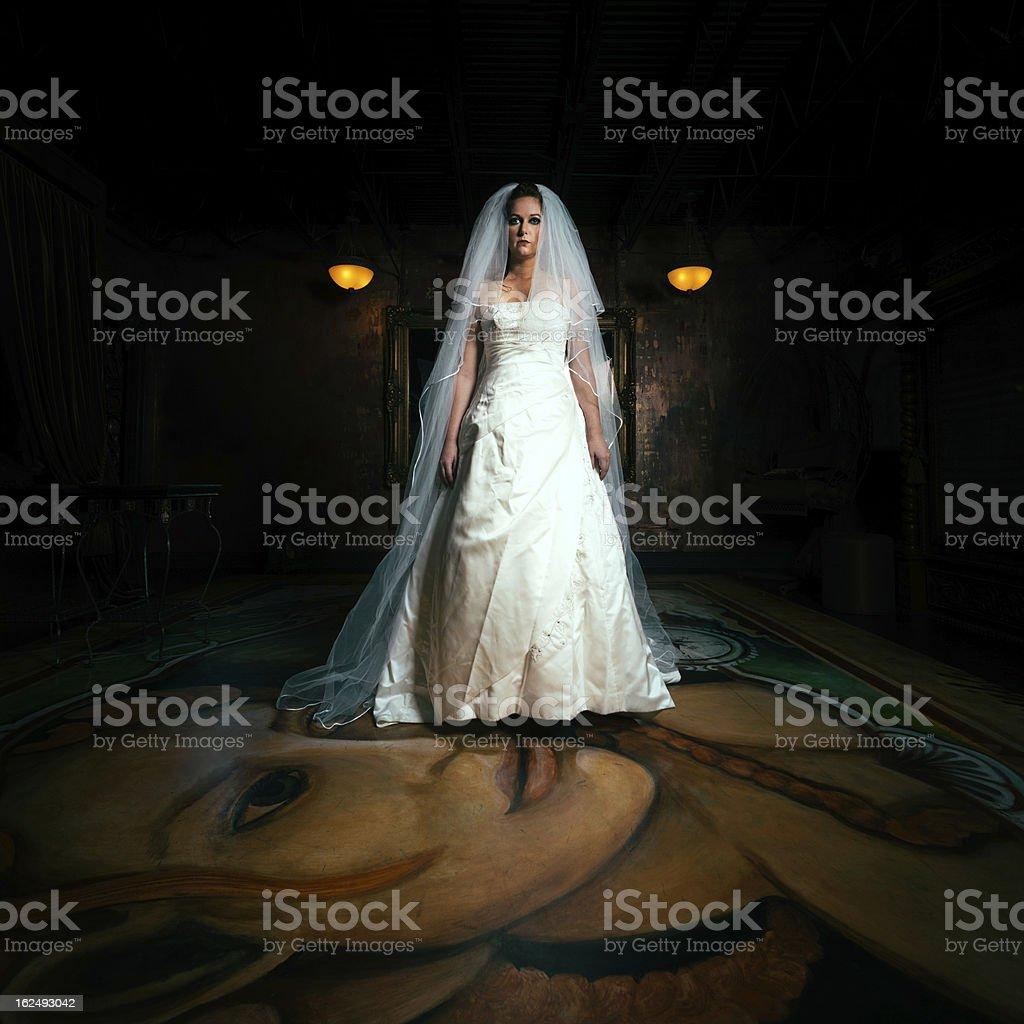 Creepy Bride White Wedding royalty-free stock photo