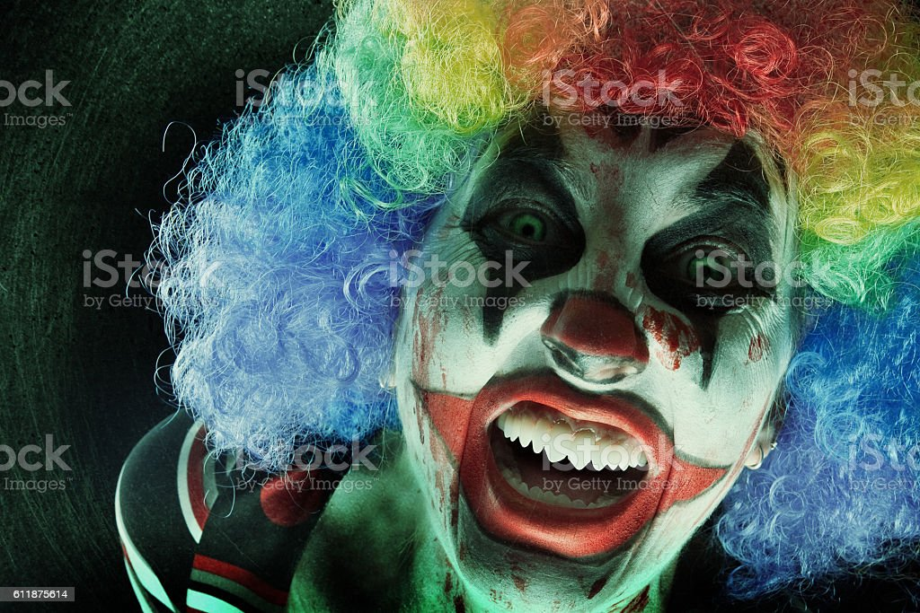 Creepy Clown Close Up stock photo