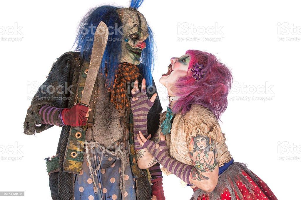 Creepy Clown Couple Relationship stock photo