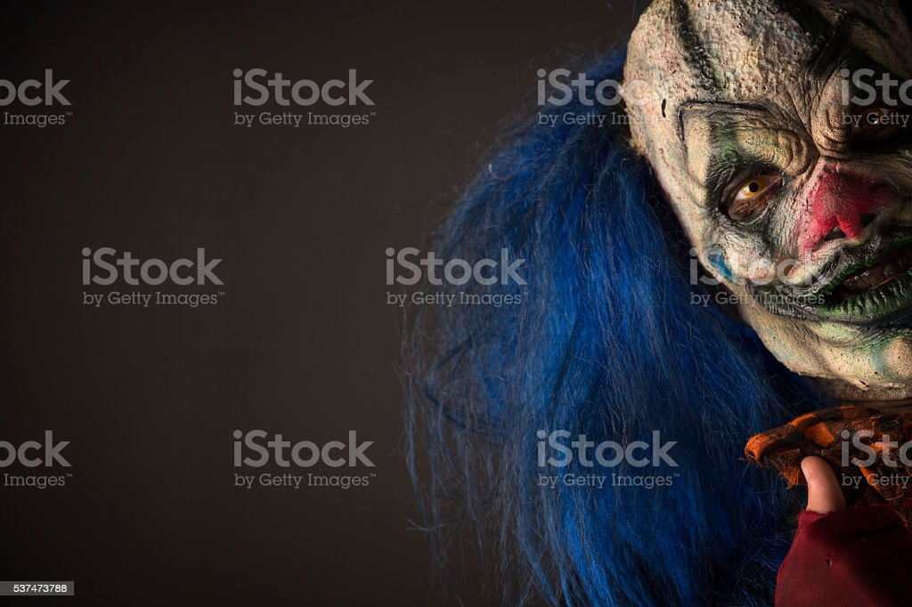 Creepy Clown With Blue hair stock photo