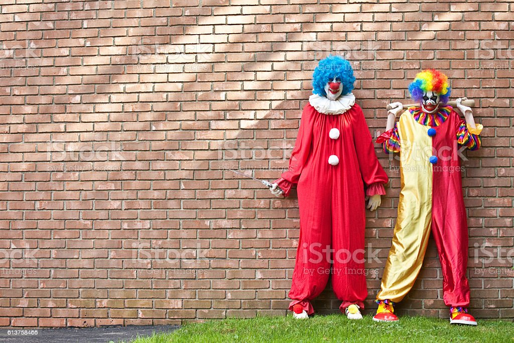 Creepy Clowns Waiting For You stock photo