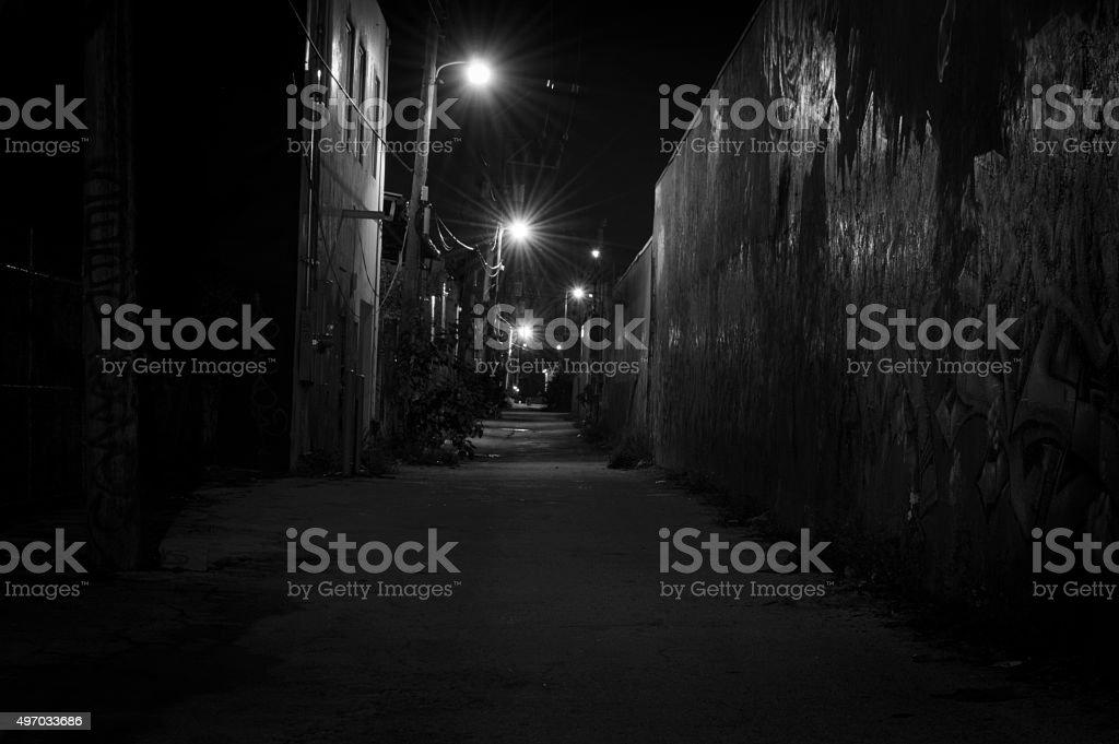 Creepy dark Alley stock photo