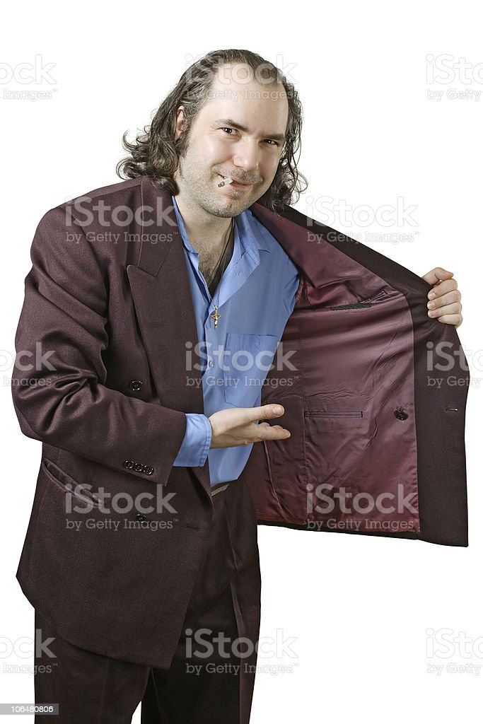 Creepy drug dealer offering drugs stock photo