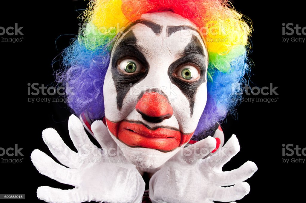 Creepy Fisheye Clown Close Up stock photo