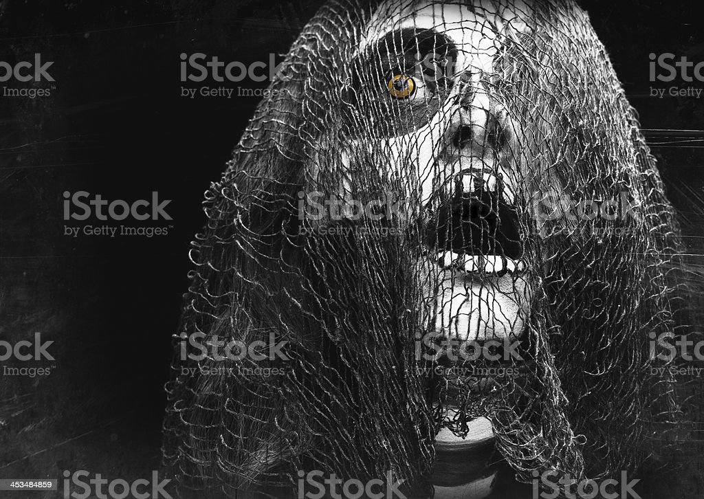 Creepy Halloween Creature Covered In Mesh stock photo