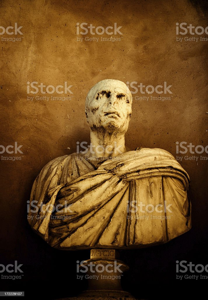 creepy roman bust stock photo