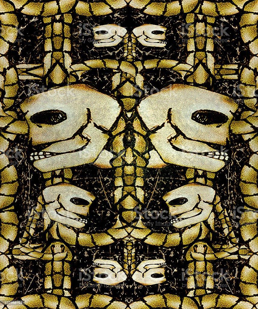 Creepy Skulls Pattern Background vector art illustration