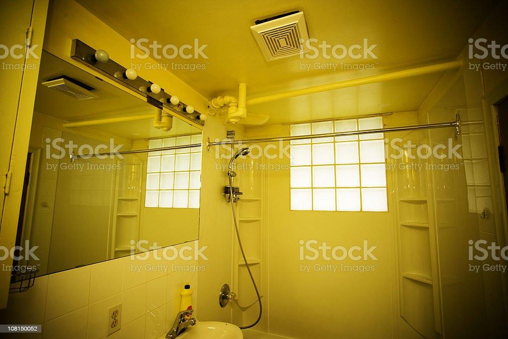 Creepy Yellow Bathroom stock photo