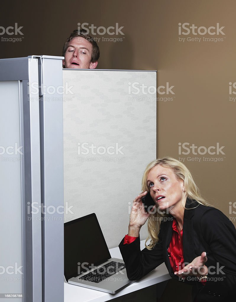 Creepy Young Man Eavesdropping stock photo